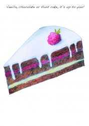 Cake slice colour pencil drawing